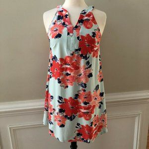 Aryeh Green Red Floral Print Stretch Shift Dress
